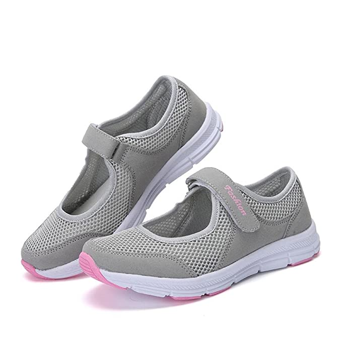 Women Sneakers, Neartime Fashion Summer/Autumn Mesh Sandals Anti Slip Fitness Running Sports Shoes (US:7, Gray): Kitchen & Dining