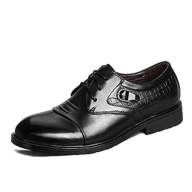 ailishabroy Hommes Low Top Chaussures en cuir véritable Hommes Luxe Lace Up  Noir Robe formelle Mariage 3d67d3e9ecd