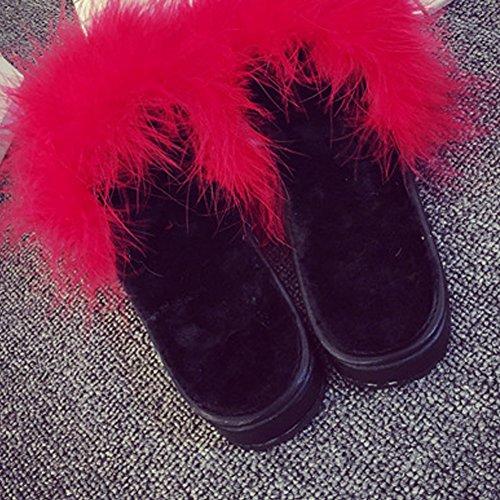 Woopower Donna Pelliccia Soffice Slip On Sandali Pantofole Cursori Di Piume Pantofole Scarpe Piatte Rosse