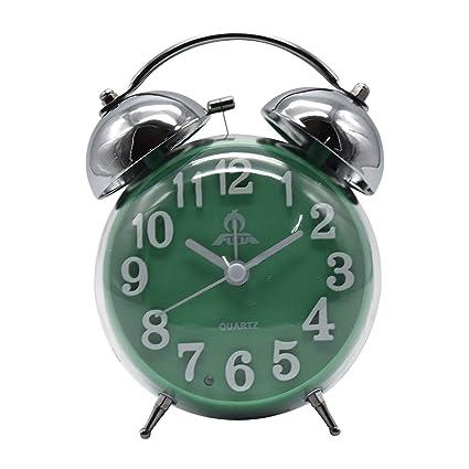 Twin Bell Alarm Clock, Round - Green
