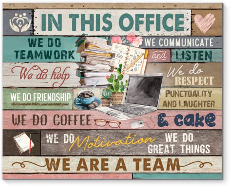 DesDirect2 Store in This Office We Do Teamwork We Do Help We Communicate and Listen We are a Team Canvas Art Wall Decor 1.25in Frame - Landscape Wall Art Home
