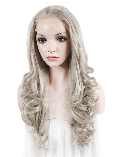Imstyle brillante gris gris peluca Lace Front sintético largo cuerpo Wavy Textura Drag Queen Cosplay de