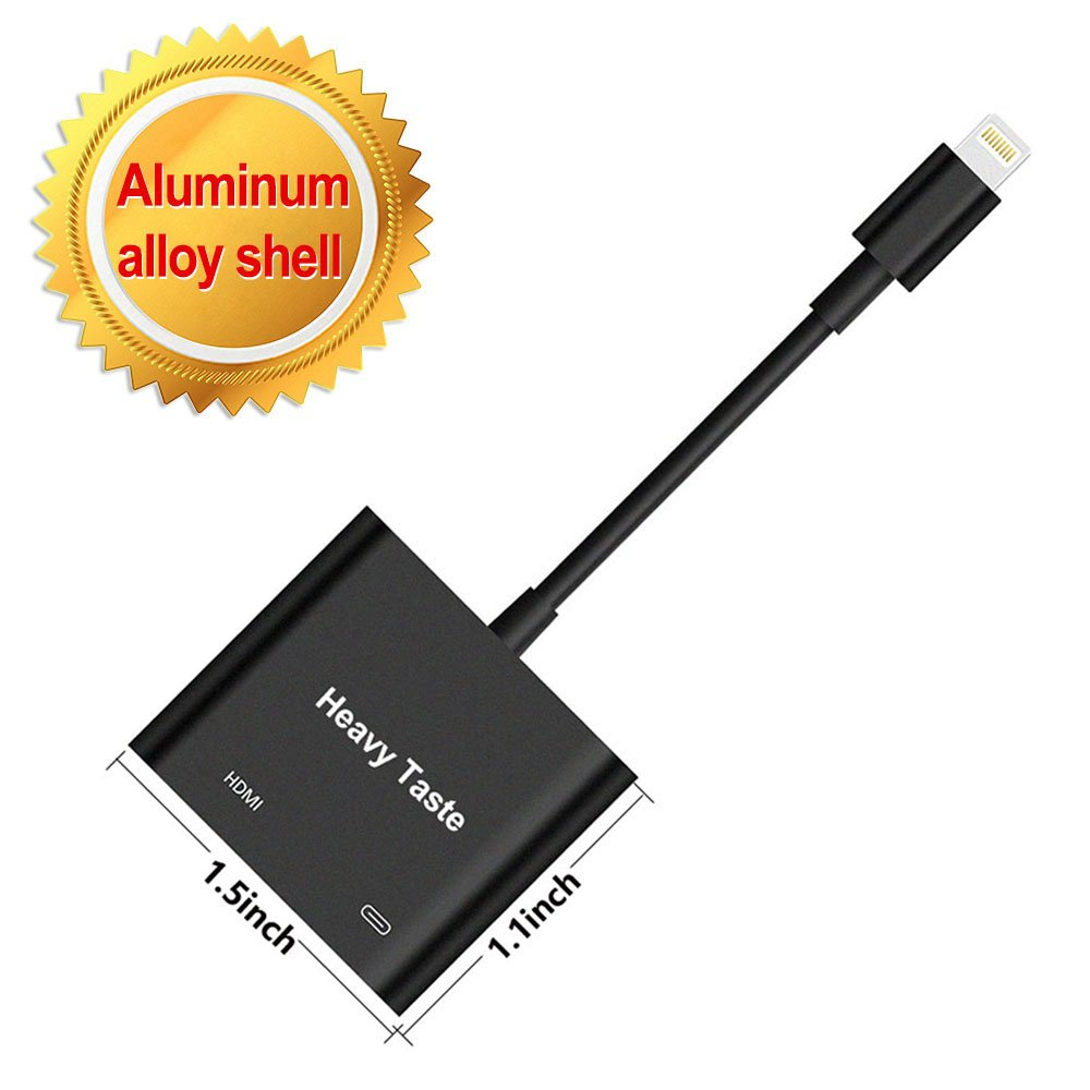 Lightning To HDMI Adapter, Lightning Digital AV Adapter with Power Supply Port For iPhone/iPad/iPod Models, 1080P HD, Support iOS 11 and Before,No APP Needed (Black)