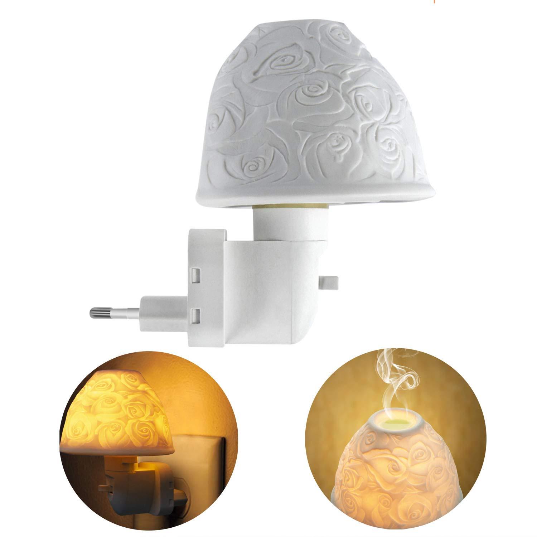 Nachtlicht Steckdose Energieklasse A+ Warmwei/ß Kimfly Keramik Kunst Nachtlicht Kind mit /ätherischem /Öl Aromatherapie Ofen und Gl/ühbirne f/ür Schlafzimmer