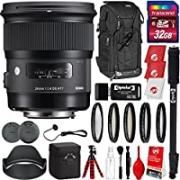 Sigma 24mm F1.4 Art DG HSM Lens for Canon DSLR Cameras w/ 32gb Pro Photo and Travel Bundle