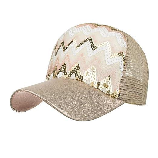 923a34aafcb Highpot Women Baseball Cap Sequins Bling Mesh Trucker Baseball Cap Snapback  Hat (Beige) at Amazon Women s Clothing store