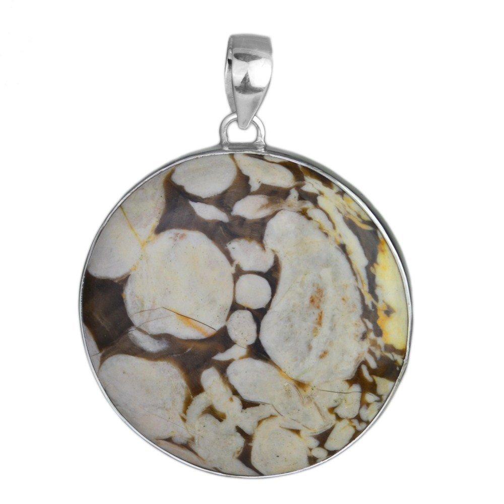 Crystalcraftindia Peanut wood 925 Sterling Silver gemstone Pendant 12.13 g Exotic gemstone huge gemstone