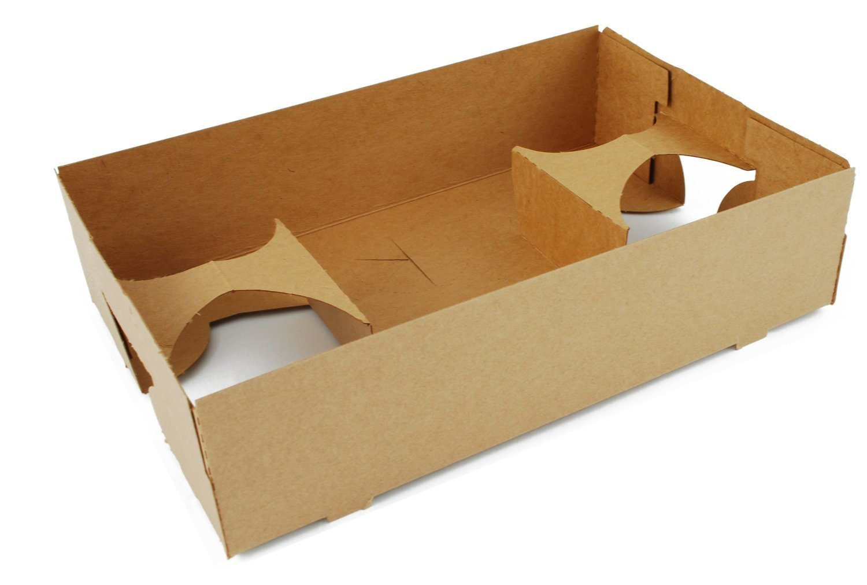 Southern Champion Tray 0120 Kraft Paperboard 4 Corner Pop Up Food & Drink Tray, 10'' L X 6.5'' W X 2 .5'' H, 25 Piece