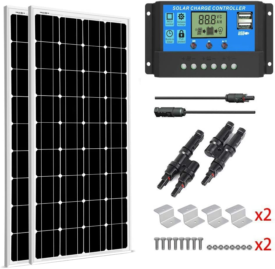 SUNGOLDPOWER 200 Watt 12V Monocrystalline Solar Panel Module Kit 2pcs 100W Mono Solar Panel Solar Cell Grade A 20A LCD PWM Charge Controller Solar MC4 Extension Cables 2 Sets of Z-Bracket