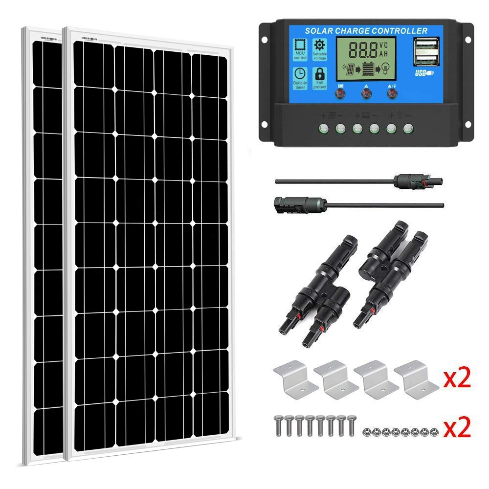 SUNGOLDPOWER 200 Watt 12V Monocrystalline Solar Panel Module Kit:2pcs 100W Mono Solar Panel Solar Cell Grade A +20A LCD PWM Charge Controller Solar+MC4 Extension Cables+2 Sets of Z-Bracket by SUNGOLDPOWER