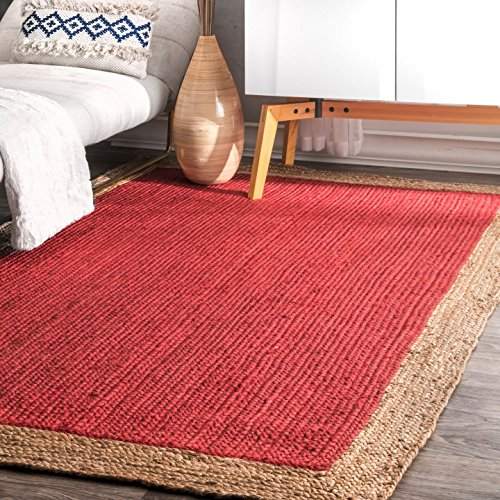 Border Red Area Rugs (Handmade Natural Fibers Border Jute Rug)