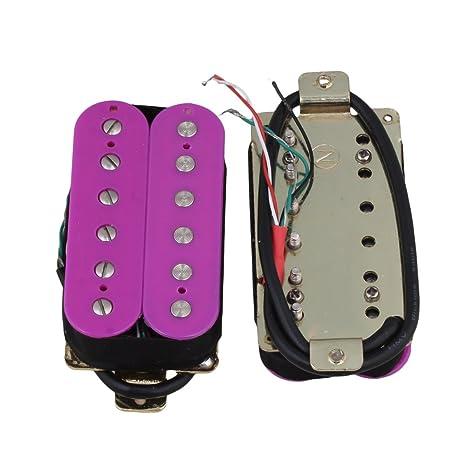 BQLZR 7,5 K 14,6 K Morado pastilla Humbucker para guitarra eléctrica Cuello Pickups y puente pastillas set sin marco para guitarra eléctrica Pack de 2: ...