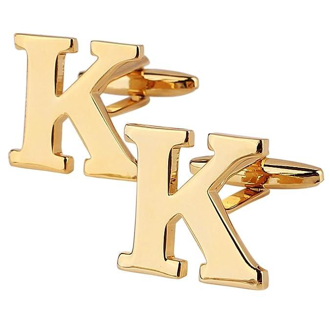 Aienid Joays de Moda Gemelos de Plata Latón Alfabeto de Letra K de ...