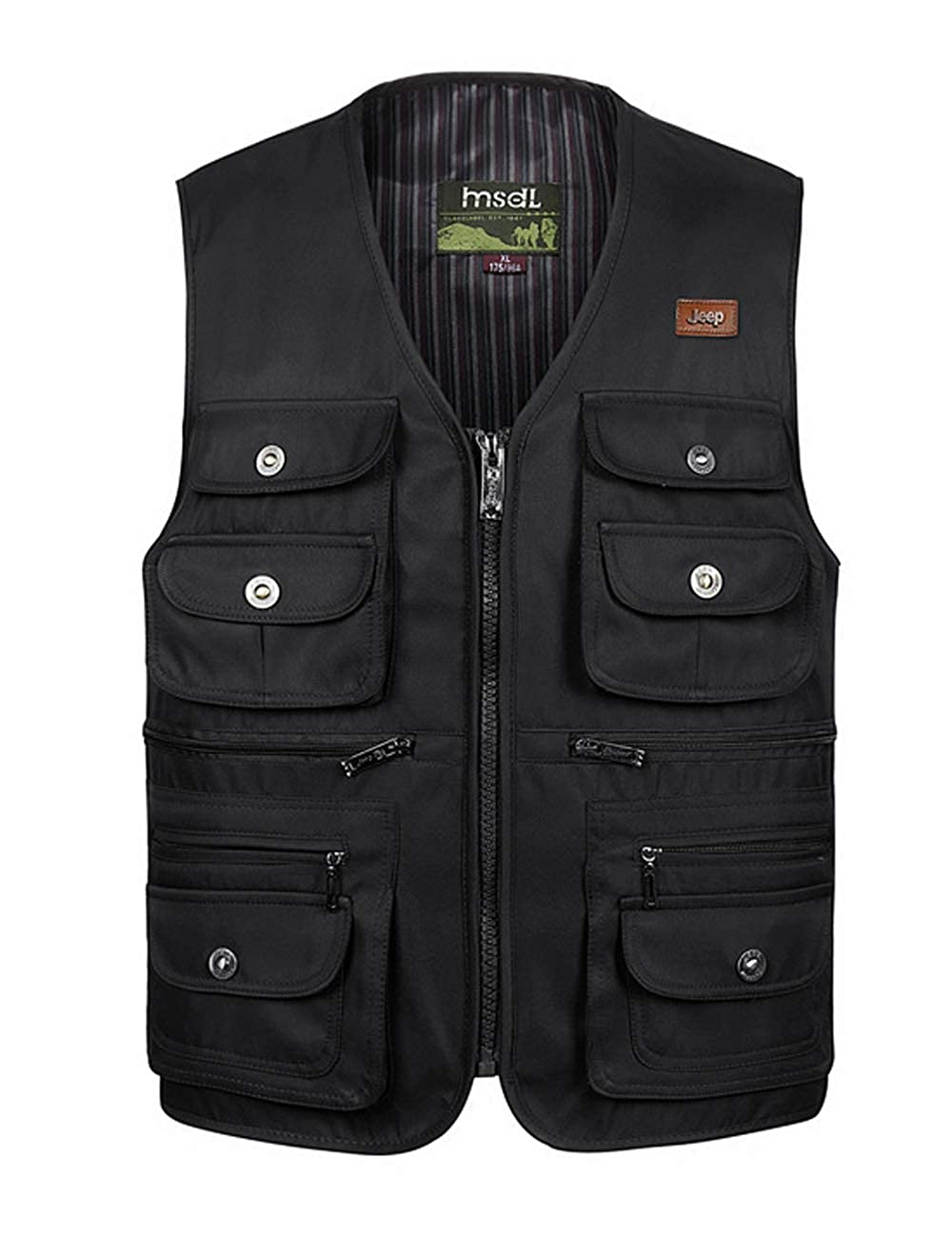 Zoulee New Men's Oversize Outdoor Photographers Vest with Multi Pockets Fishing Cotton Vest Large Size 06Zoulee1467
