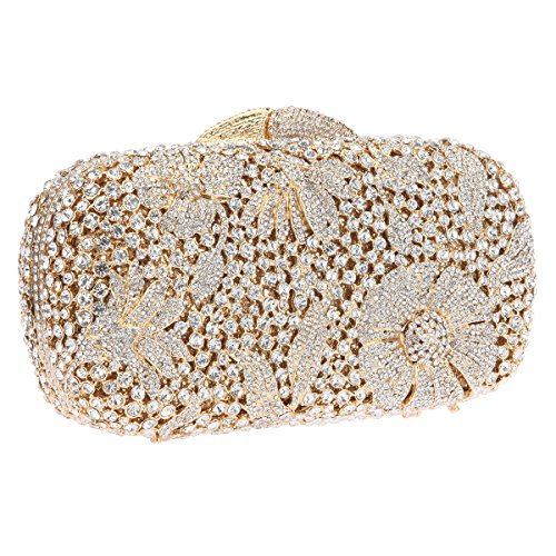 Clutch Bags Purse Evening Studded Flower Cocktail Bonjanvye Crystal Gold Bling 4O0qxwv