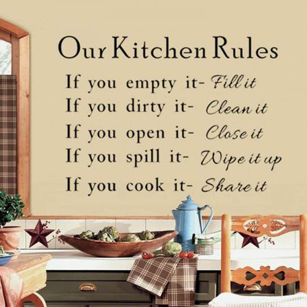Our Kitchen Rules Cook Words Quote Wall Stickers Vinyl Art Decals ...