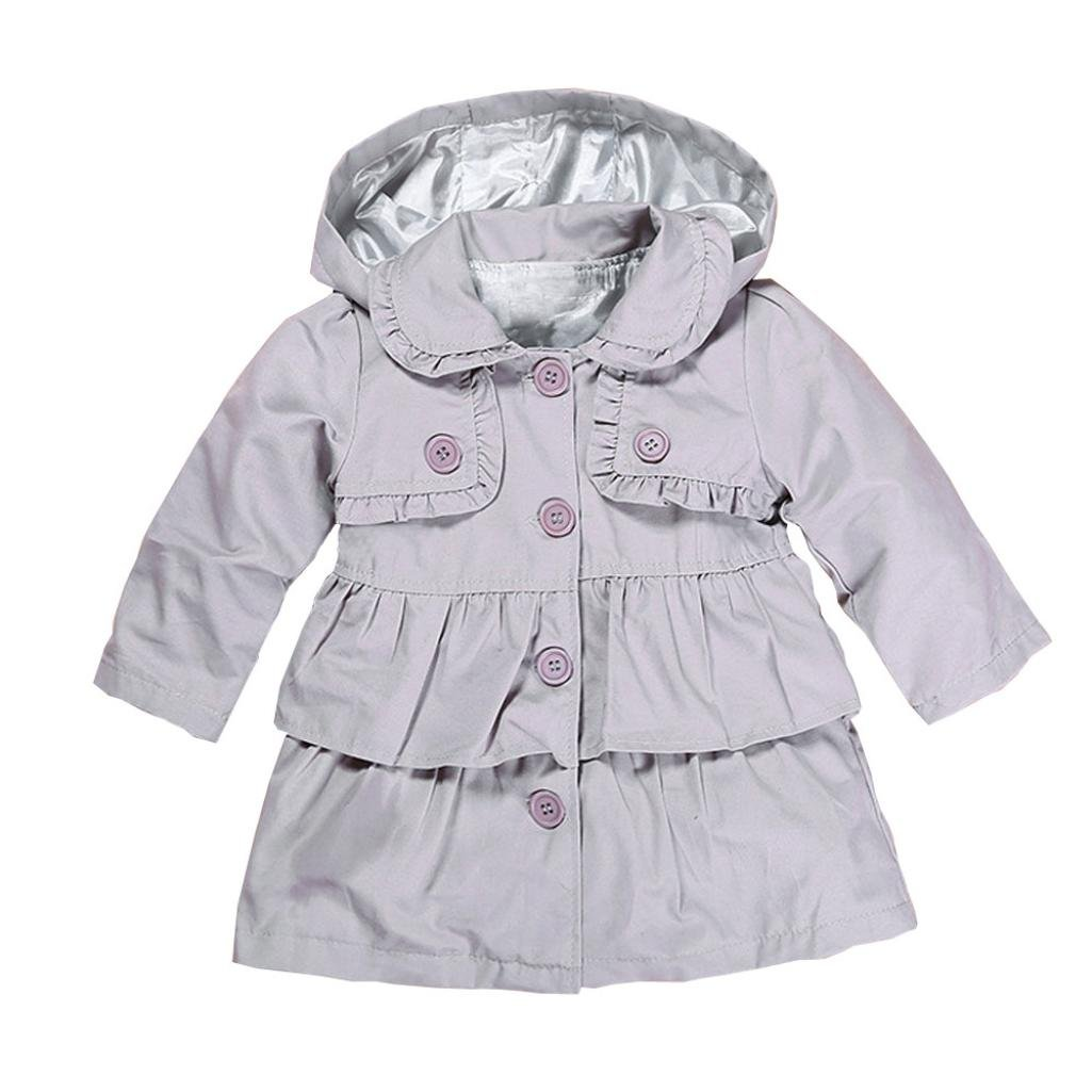 Kids Baby Girl Warm Hooded Trench Dust Coat Jacket Outerwear Fall Winter Clothes