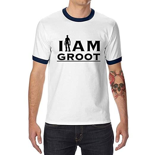 I AM Groot Cotton Adult Graphic Tee Men's Graphic Ringer T