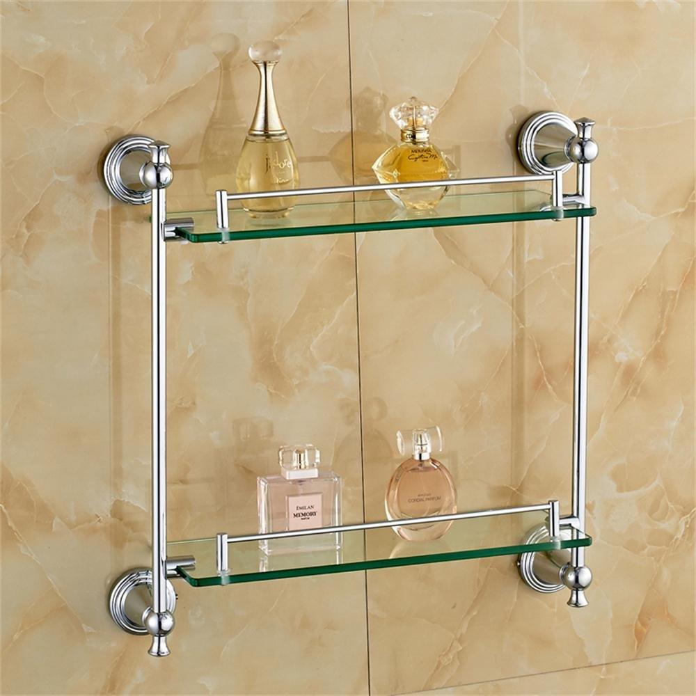 ALUPすべての銅の二重棚ガラス棚の化粧品 B07BFQDGN1