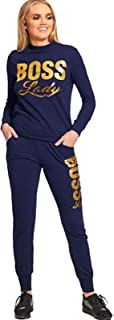 Wamtextiles Ladies Women BOSS Lady Printed Gym Sports Fitness Joggers Tracksuit Running Top Tracky Bottom UK Size 8-14