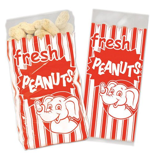 Beistle Peanut Bags | Circus & Carnival Theme Birthday Party Supplies (50 Count) -