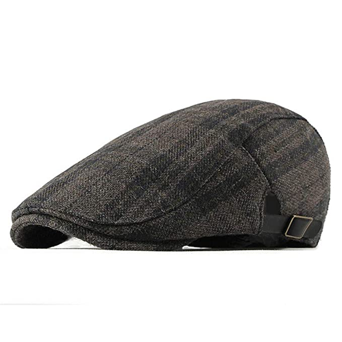 7329df8c RICHTOER Tartan Beret Winter Newsboy Cap Men Women Flat Caps Hat Outdoors  (Grey)