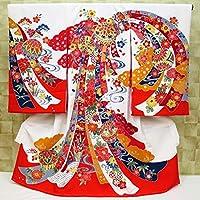 【琉球紅型調・毬と束ね熨斗・白】 女児 初着 祝着 のしめ 産着 女の子のお宮参り着物 高級 フードセットプレゼント付