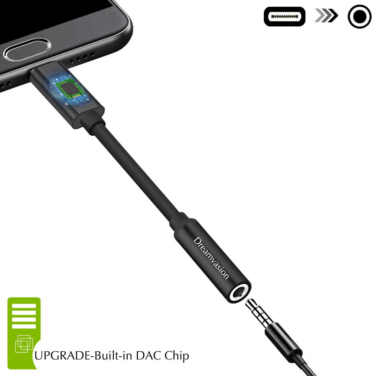 Goolge Pixel Audio Adapter, Dreamvasion USB Type C to 3.5mm Headphone Audio Jack Adapter Cable with DAC/Hi-Res for Google Pixel 2 XL, HTC, Huawei, Moto Z, Essential Ph-1, MacBook, More USB C Devices