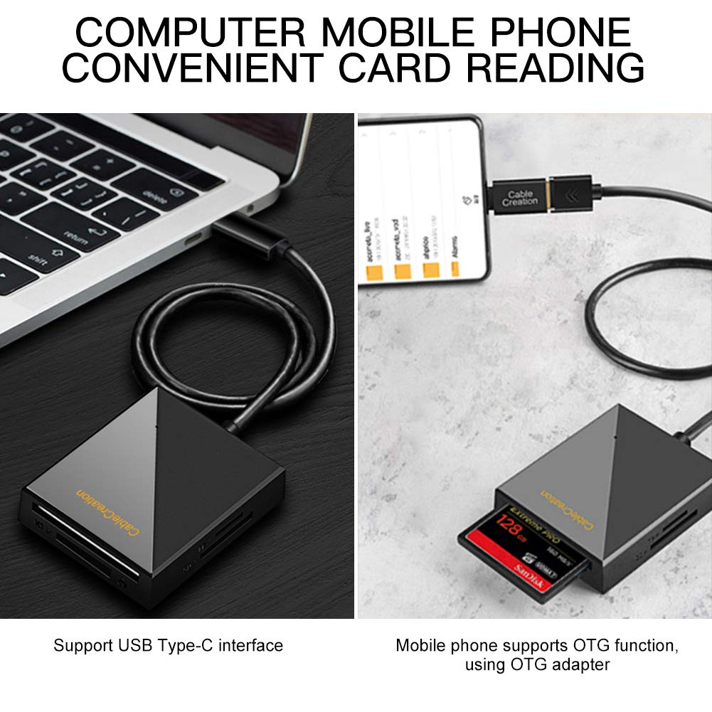 ULBRE SD Card Reader USB 3.0 5Gbps Multi-Card Adapter Read 4 Cards Simultaneously for Micro CF, CF, CFI, TF, MS, SD, SDXC, SDHC, Micro SD, Micro SDHC, Micro SDXC, MS PRO, MSD UO, MSD PRODUO
