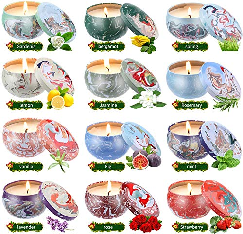 Scented Candles Gifts Sets for - Natural Soy Wax Travel Tin Fragrance Gift for Valentine's Day Birthday Mother's Day Bath Yoga-12 Pack