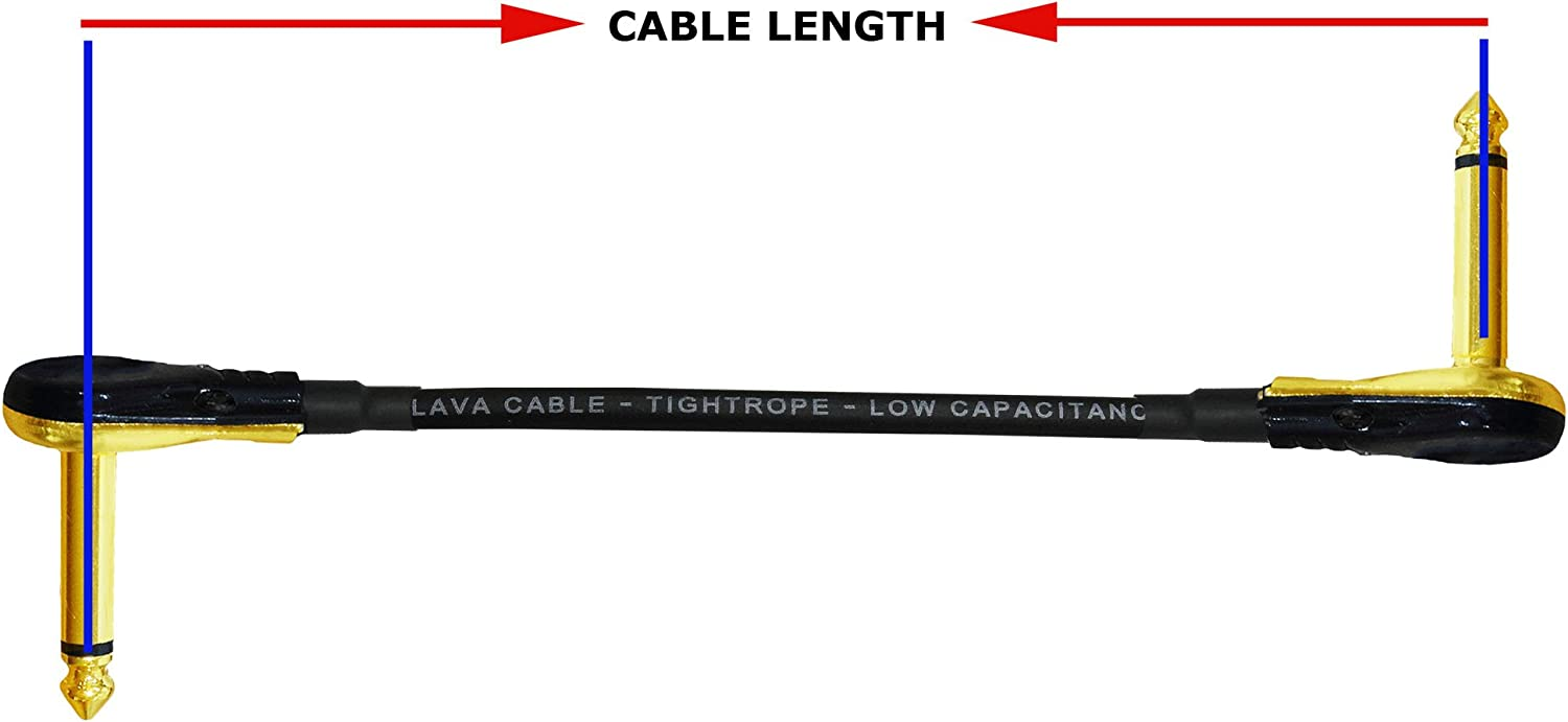 Black Right Angle Pancake type TS Connectors 6.35mm - 10 Inch Guitar Bass Effects Instrument Lava Tightrope S-Shaped Patch Cable with Premium Gold Plated /¼ Inch