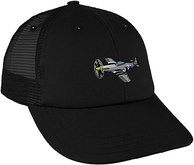 fc66893fe060b Amazon.com  P-51 Military Plane Flying 2 Embroidery Unisex Adult Snaps  Cotton Low Crown Mesh Golf Snapback Hat Cap - Black