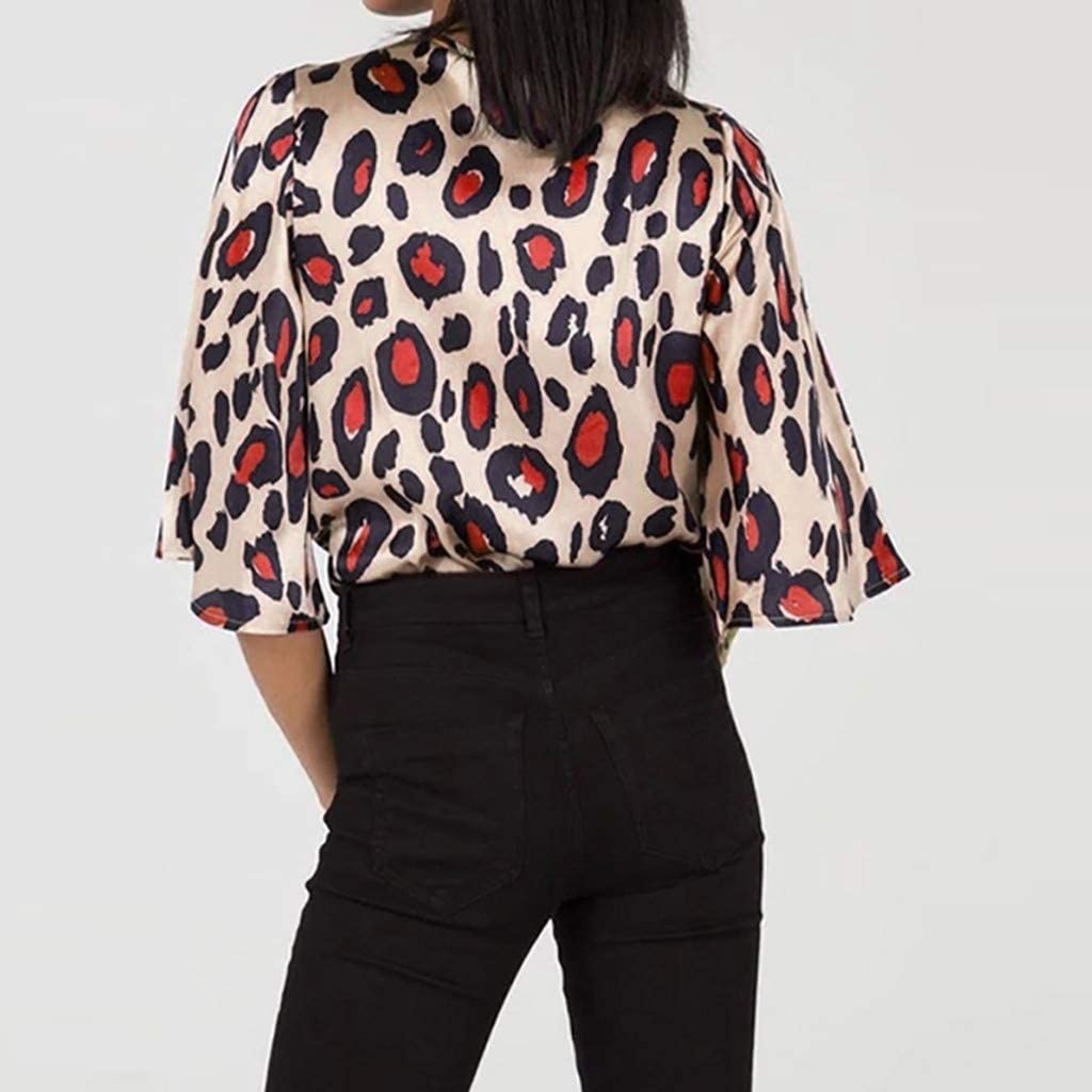 Womens Fashion Leopard Print Ladies Casual Shirt Tops Loose V Neck Blouse Tee