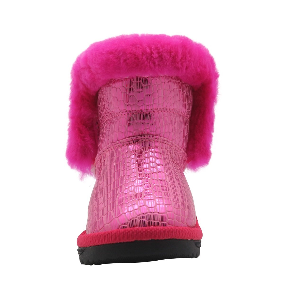 Non-Slip Toddler Shoes Girls Warm Winter Flat Shoes Fur Snow Boots with Woolen Lining Durable Color : Pink , Size : 10 M US Toddler
