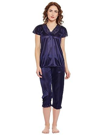 331ee44fb2 Clovia Women s Satin Top   Capri Set (NSM281G08 Blue Free Size ...