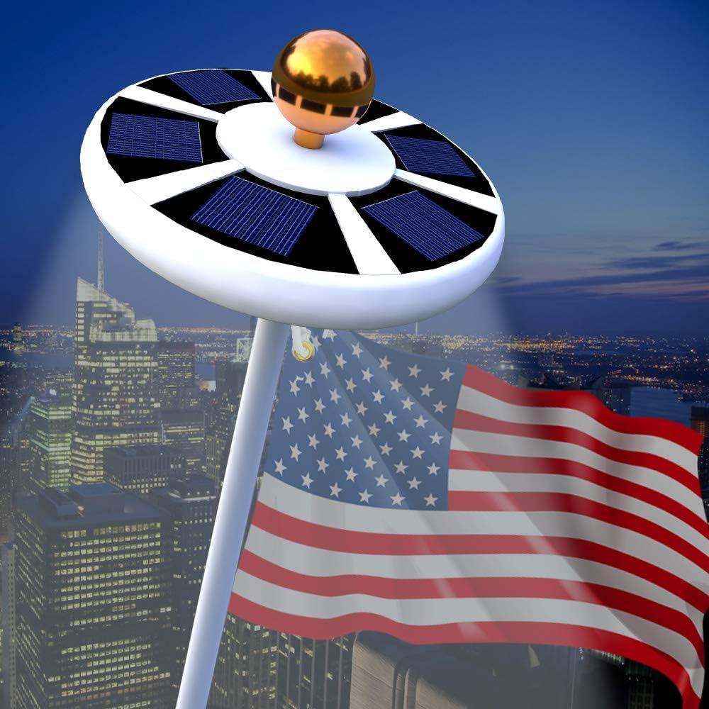 USA Flag Pole 128 LED Solar Powered Automatic Light Night Super Bright Flagpole