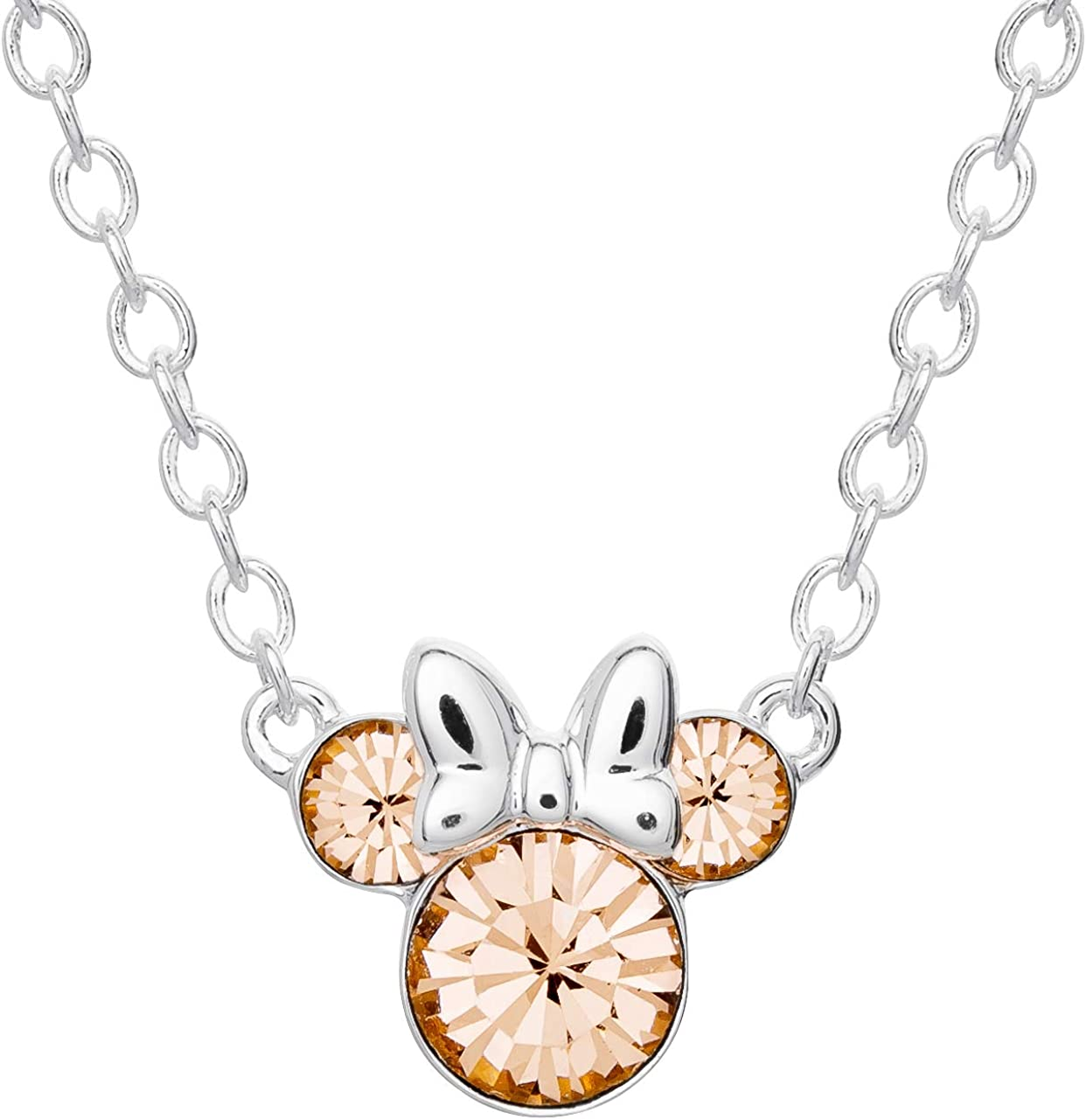 Disney Minnie Mouse Crystal Birthstone Silver Plated Pendant Necklace, June Light Peach: Clothing