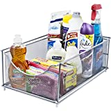 Sorbus Cabinet Organizer Drawer— Mesh Storage Organizer with Pull Out Drawers—Ideal for Countertop, Cabinet, Pantry, Under the Sink, Desktop and More (Silver Top Drawer)