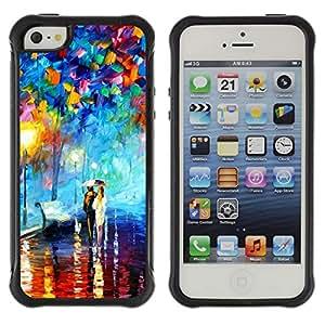 Híbridos estuche rígido plástico de protección con soporte para el Apple iPhone 5 / 5S - oil painting couple love umbrella lantern