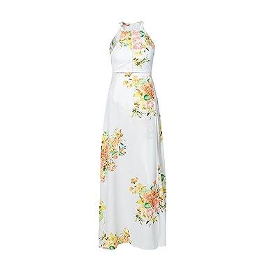 Women Floral White Maxi Summer Beach Dresses Beach Split Party Sexy Boho Dress Vestidos,White