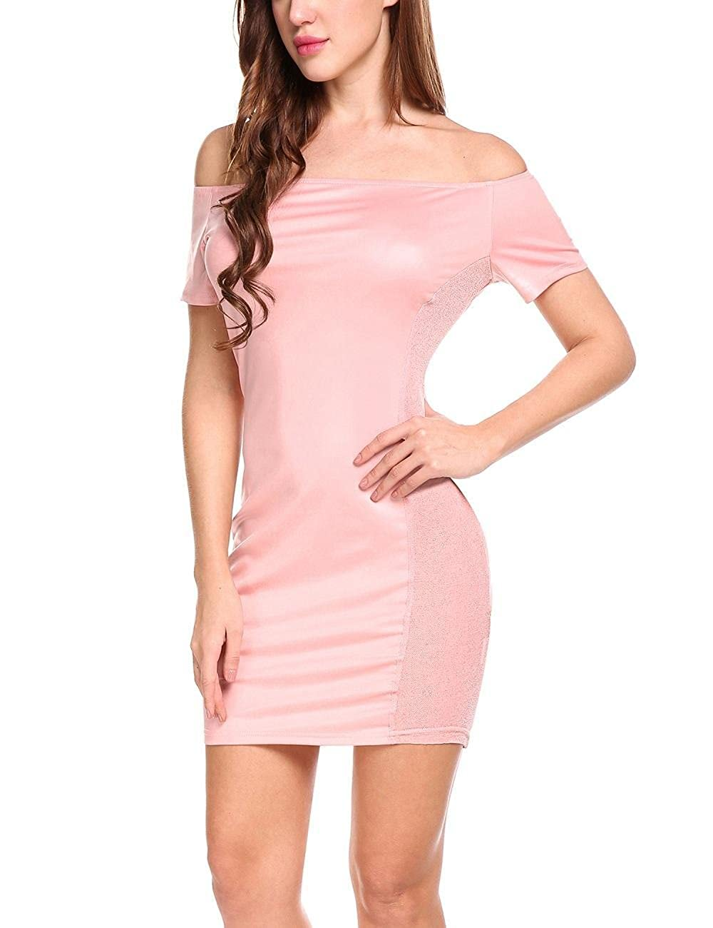 5cc6e3935f8d Loveje Pencil Party Dresses for Women Plus Size Womens Sexy Ruffle Off  Shoulder Mermaid Bodycon Evening Midi Dress Dresses at Amazon Women s  Clothing store