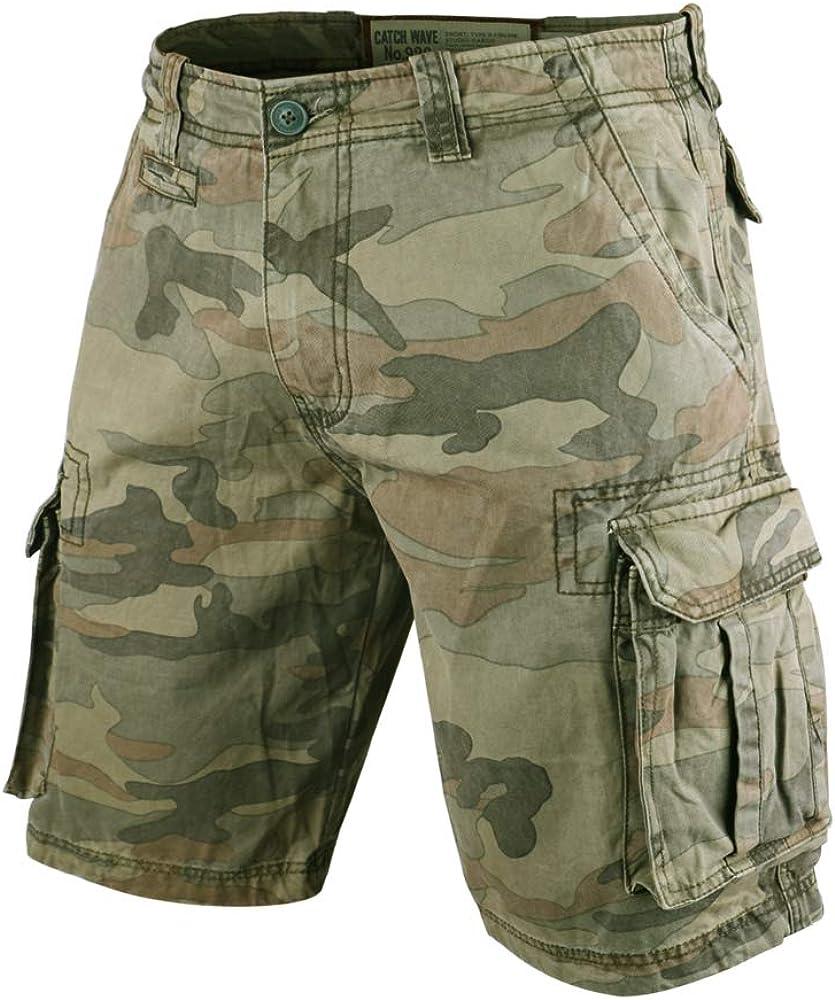 Muscle Alive Hombres Cargo Shorts Vintage Deportes C/ámping Excursionismo Camuflaje Pantalones Cortos Algod/ón