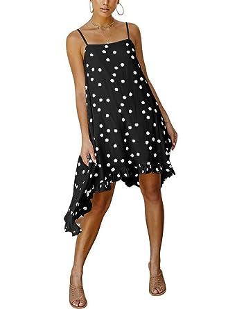 90efc4ea2613e HOYMN Women's Spaghetti Polka Dot Swing Dress, Summer Irregular High Low  Ruffle Loose Beach Vacation