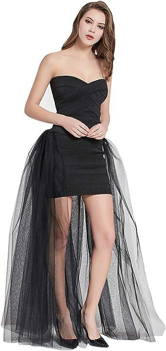 FEOYA - Falda larga para mujer, tul extraíble, falda de novia ...