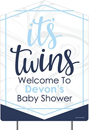 Amazon Com Big Dot Of Happiness Personalized It S Twin Boys Party Decorations Custom Blue Twins Baby Shower Welcome Yard Sign Garden Outdoor