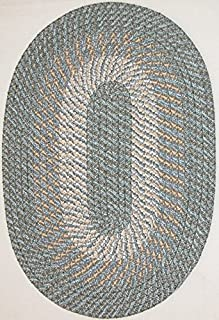 "product image for Plymouth 7'4"" x 9'4"" (88"" x 112"") Oval Braided Rug in Country Blue"