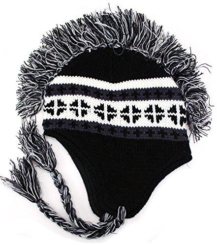 Enimay Men's Women's Mohawk Beanie Cold Weather Winter Hat Skull Cap Black (Hat Women For Mohawk)