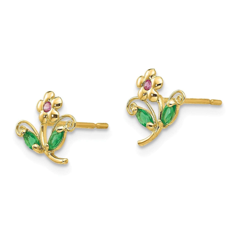 14k Madi K CZ Childrens Flower Post Earrings in 14k Yellow Gold