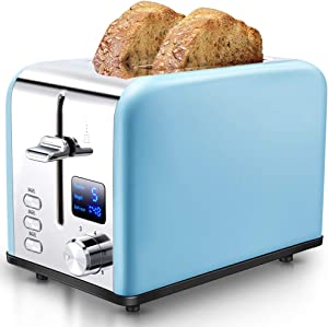 AEVO 2-Slice Toaster [Extra-Wide Slots with Digital Time Display] [Bagel/Defrost/Cancel Buttons] [6 Bread Shade Settings] Compact Stainless-Steel Toaster, Blue