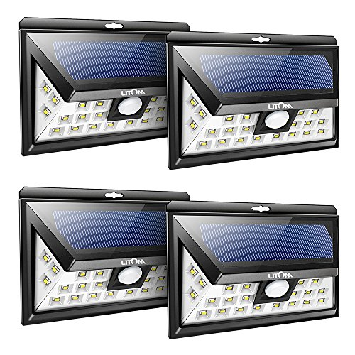 Litom 24 led solar lights outdoor super bright motion for Lumiere exterieur applique